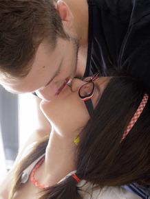 Young brunette nerd Raisa pulls down pantyhose to fuck her boyfriend