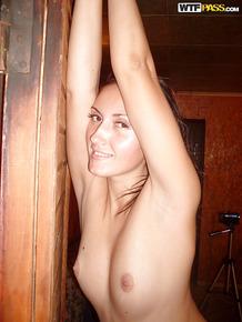 Drunk european hottie demonstrating her seductive curves