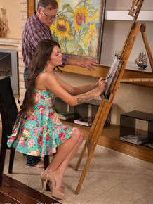 Young brunette fucks her old art teacher in order to pass his class