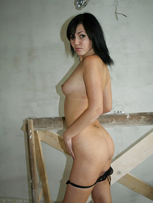 Tempting brunette amateur stripping down for a homemade video