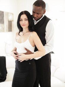 Black gentleman Jon Jon fucks adorable black-haired lady Karly Baker