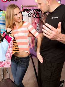 Tiny titted shoplifter Rachel James fucks when caught to avoid consequences