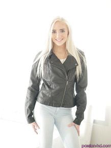 Blonde teen babe Naomi Woods pulling jeans down over ass and legs