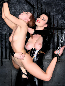 Dark haired dykes teach a young girl all about being their sex slave