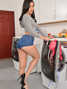 Brunette Latina Alina Lopez strips and teases in the laundry room