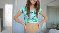 Skinny sizequeen teen getting covered in cum