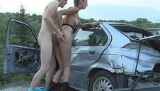 Hot leggy camper babe gets will not hear of pussy plumbed