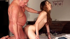 Super-naughty ultra-cute school chick macro shot cum swallow after fucking old guy